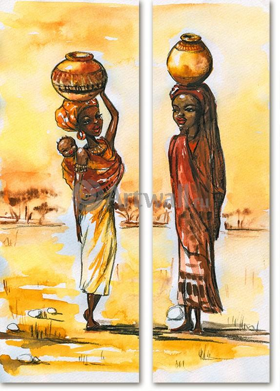 Модульная картина «Африканки»Африканские мотивы<br>Модульная картина на натуральном холсте и деревянном подрамнике. Подвес в комплекте. Трехслойная надежная упаковка. Доставим в любую точку России. Вам осталось только повесить картину на стену!<br>