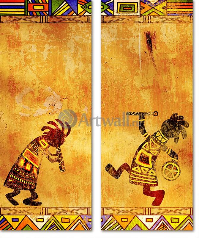 Модульная картина «Африканские узоры»Африканские мотивы<br>Модульная картина на натуральном холсте и деревянном подрамнике. Подвес в комплекте. Трехслойная надежная упаковка. Доставим в любую точку России. Вам осталось только повесить картину на стену!<br>