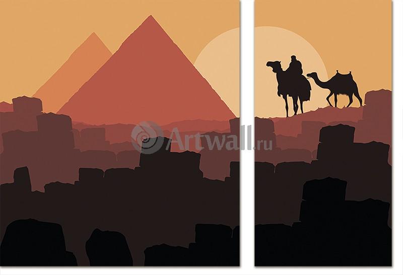 Модульная картина «Египетские пирамиды вечером»Африканские мотивы<br>Модульная картина на натуральном холсте и деревянном подрамнике. Подвес в комплекте. Трехслойная надежная упаковка. Доставим в любую точку России. Вам осталось только повесить картину на стену!<br>
