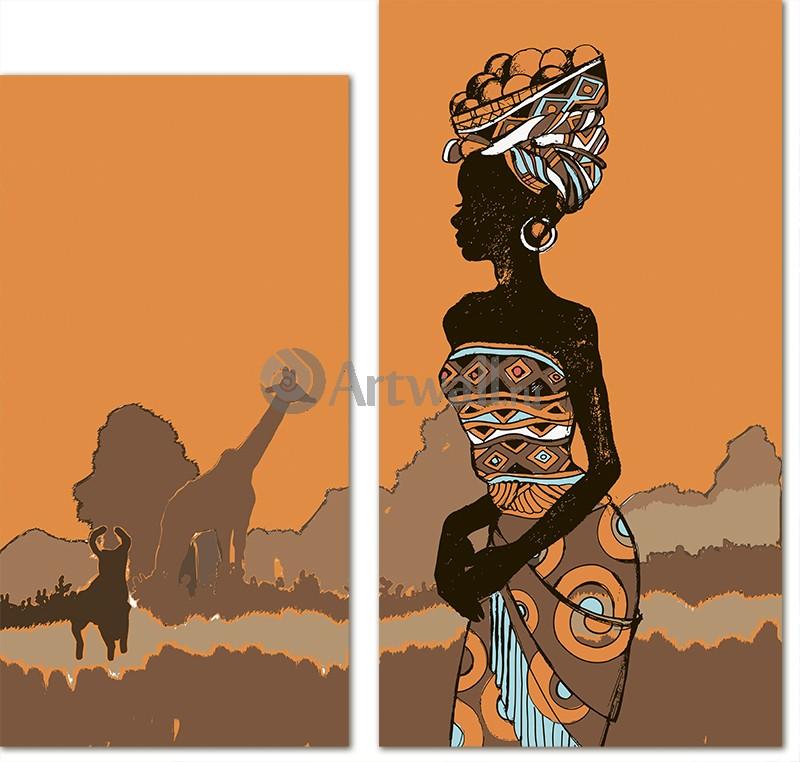 Модульная картина «Африка две части»Африканские мотивы<br>Модульная картина на натуральном холсте и деревянном подрамнике. Подвес в комплекте. Трехслойная надежная упаковка. Доставим в любую точку России. Вам осталось только повесить картину на стену!<br>