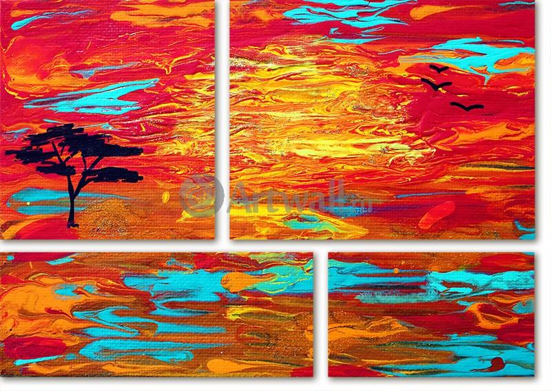 Модульная картина «Красный пейзаж»Природа<br>Модульная картина на натуральном холсте и деревянном подрамнике. Подвес в комплекте. Трехслойная надежная упаковка. Доставим в любую точку России. Вам осталось только повесить картину на стену!<br>