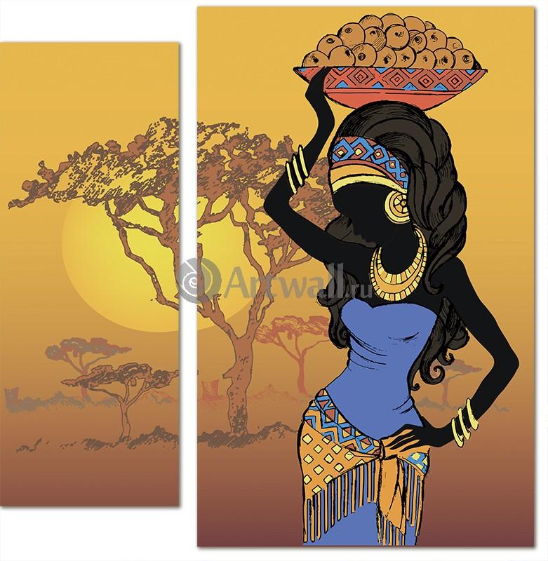 Модульная картина «Африканка»Африканские мотивы<br>Модульная картина на натуральном холсте и деревянном подрамнике. Подвес в комплекте. Трехслойная надежная упаковка. Доставим в любую точку России. Вам осталось только повесить картину на стену!<br>