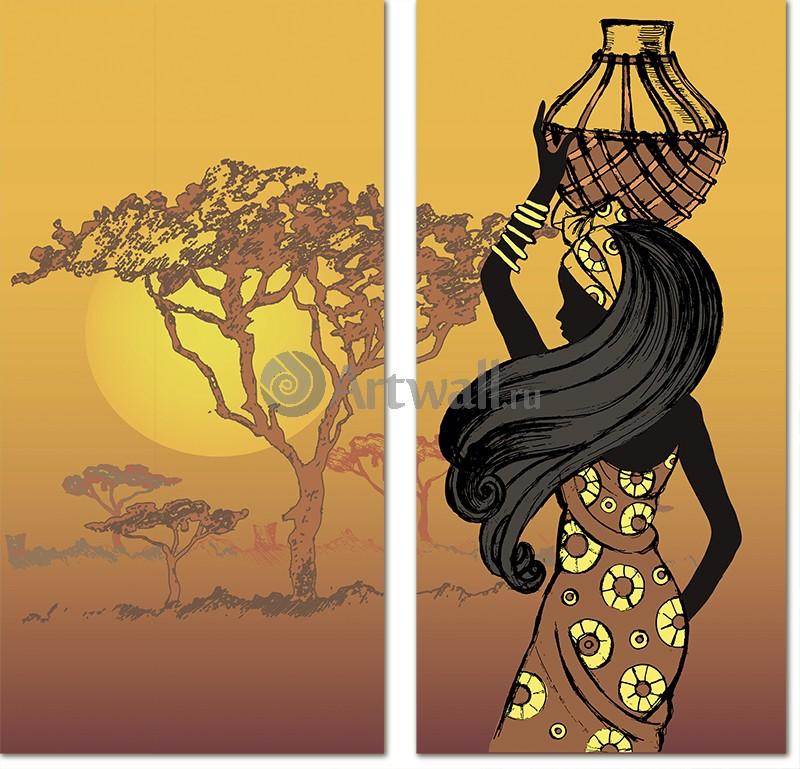 Модульная картина «Африканка со спины»Африканские мотивы<br>Модульная картина на натуральном холсте и деревянном подрамнике. Подвес в комплекте. Трехслойная надежная упаковка. Доставим в любую точку России. Вам осталось только повесить картину на стену!<br>