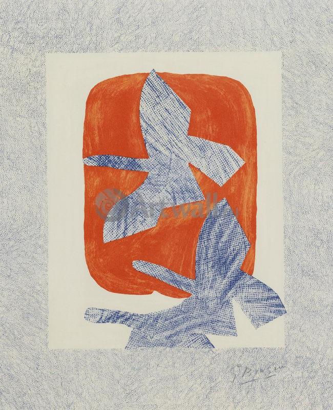 Птицы на оранжевом, 20x25 см, на бумагеБрак Жорж<br>Постер на холсте или бумаге. Любого нужного вам размера. В раме или без. Подвес в комплекте. Трехслойная надежная упаковка. Доставим в любую точку России. Вам осталось только повесить картину на стену!<br>