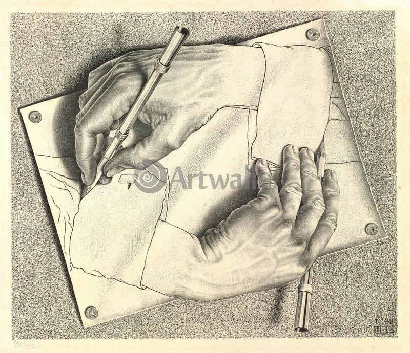 Эшер Мауриц Корнелис, картина Рисующие рукиЭшер Мауриц Корнелис<br>Репродукция на холсте или бумаге. Любого нужного вам размера. В раме или без. Подвес в комплекте. Трехслойная надежная упаковка. Доставим в любую точку России. Вам осталось только повесить картину на стену!<br>