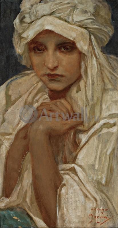 Муха Альфонс, картина Портрет девушкиМуха Альфонс<br>Репродукция на холсте или бумаге. Любого нужного вам размера. В раме или без. Подвес в комплекте. Трехслойная надежная упаковка. Доставим в любую точку России. Вам осталось только повесить картину на стену!<br>