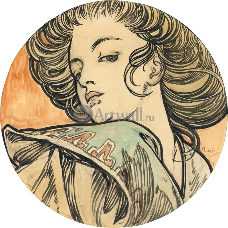 Муха Альфонс, картина Портрет молодой женщиныМуха Альфонс<br>Репродукция на холсте или бумаге. Любого нужного вам размера. В раме или без. Подвес в комплекте. Трехслойная надежная упаковка. Доставим в любую точку России. Вам осталось только повесить картину на стену!<br>