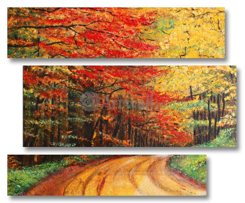 Модульная картина «Рыжая осень»Природа<br>Модульная картина на натуральном холсте и деревянном подрамнике. Подвес в комплекте. Трехслойная надежная упаковка. Доставим в любую точку России. Вам осталось только повесить картину на стену!<br>