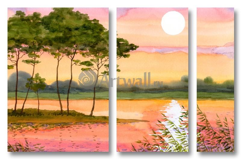 Модульная картина «Сельский закат»Природа<br>Модульная картина на натуральном холсте и деревянном подрамнике. Подвес в комплекте. Трехслойная надежная упаковка. Доставим в любую точку России. Вам осталось только повесить картину на стену!<br>