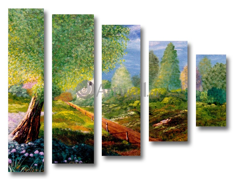 Модульная картина «Сельская дорога»Природа<br>Модульная картина на натуральном холсте и деревянном подрамнике. Подвес в комплекте. Трехслойная надежная упаковка. Доставим в любую точку России. Вам осталось только повесить картину на стену!<br>