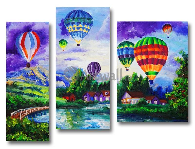 Модульная картина «Воздушные шары»Природа<br>Модульная картина на натуральном холсте и деревянном подрамнике. Подвес в комплекте. Трехслойная надежная упаковка. Доставим в любую точку России. Вам осталось только повесить картину на стену!<br>