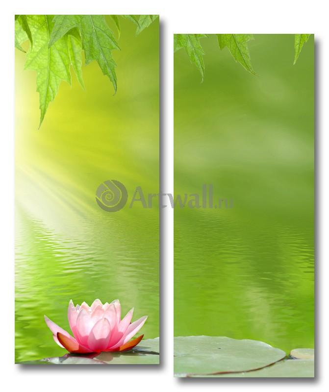 Модульная картина «Розовый лотос»Цветы<br>Модульная картина на натуральном холсте и деревянном подрамнике. Подвес в комплекте. Трехслойная надежная упаковка. Доставим в любую точку России. Вам осталось только повесить картину на стену!<br>