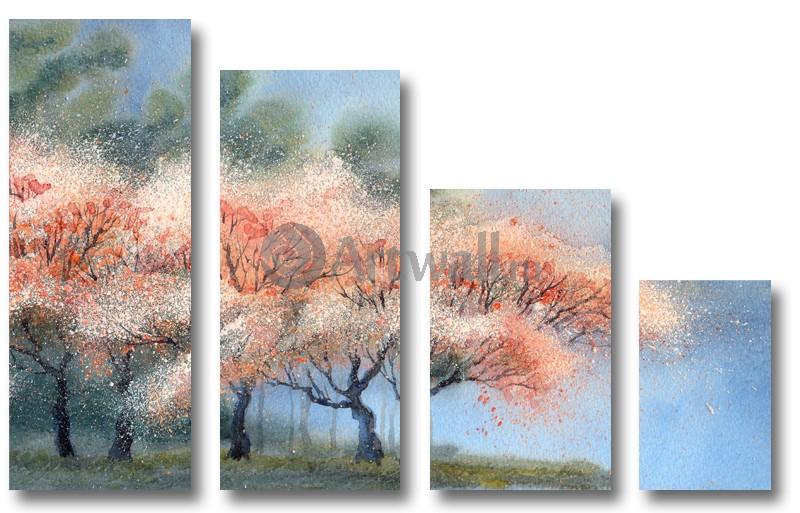 Модульная картина «Розовый туман»Природа<br>Модульная картина на натуральном холсте и деревянном подрамнике. Подвес в комплекте. Трехслойная надежная упаковка. Доставим в любую точку России. Вам осталось только повесить картину на стену!<br>