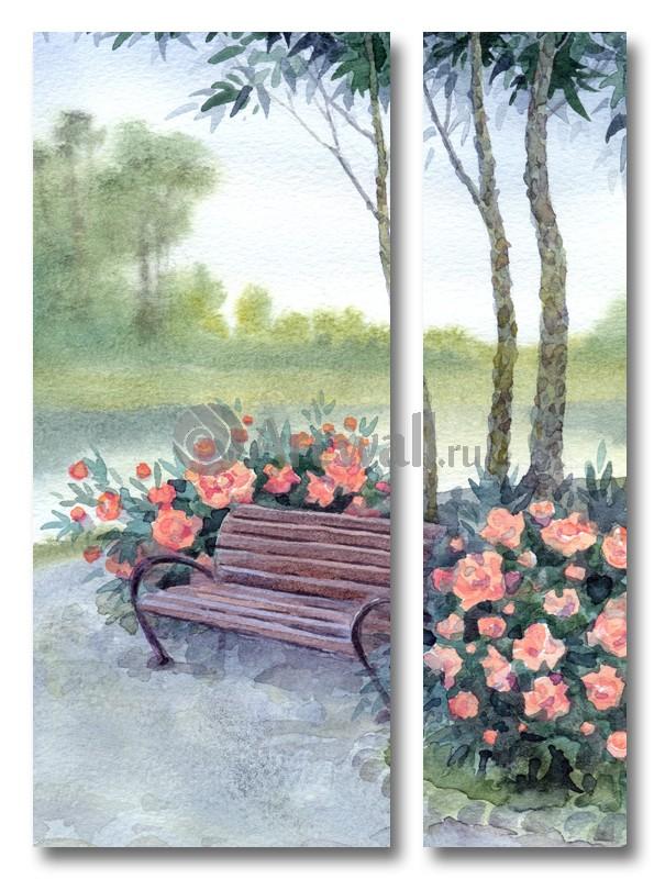 Модульная картина «Два куста с розами»Природа<br>Модульная картина на натуральном холсте и деревянном подрамнике. Подвес в комплекте. Трехслойная надежная упаковка. Доставим в любую точку России. Вам осталось только повесить картину на стену!<br>