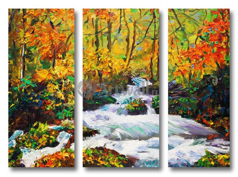 Модульная картина «Осенняя река в лесу»Природа<br>Модульная картина на натуральном холсте и деревянном подрамнике. Подвес в комплекте. Трехслойная надежная упаковка. Доставим в любую точку России. Вам осталось только повесить картину на стену!<br>