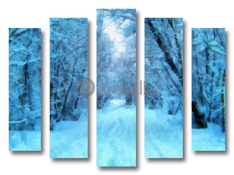 Модульная картина «Зимняя дорога в лесу»Природа<br>Модульная картина на натуральном холсте и деревянном подрамнике. Подвес в комплекте. Трехслойная надежная упаковка. Доставим в любую точку России. Вам осталось только повесить картину на стену!<br>