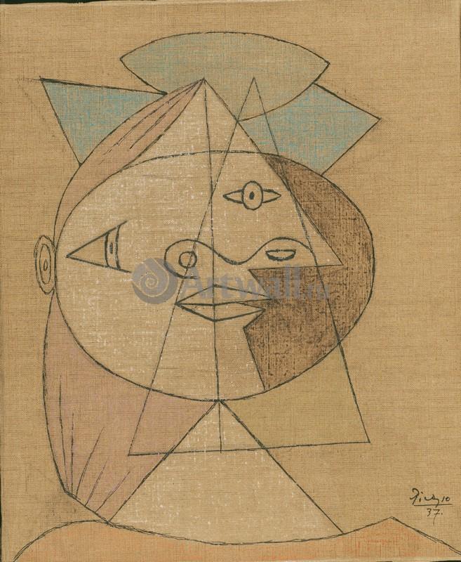 Пикассо Пабло, картина Голова женщиныПикассо Пабло<br>Репродукция на холсте или бумаге. Любого нужного вам размера. В раме или без. Подвес в комплекте. Трехслойная надежная упаковка. Доставим в любую точку России. Вам осталось только повесить картину на стену!<br>