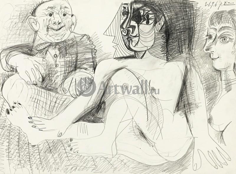 Пикассо Пабло, картина Две женщины и мужчинаПикассо Пабло<br>Репродукция на холсте или бумаге. Любого нужного вам размера. В раме или без. Подвес в комплекте. Трехслойная надежная упаковка. Доставим в любую точку России. Вам осталось только повесить картину на стену!<br>