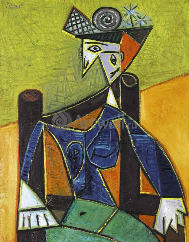 Пикассо Пабло, картина Женщина, сидящая в креслеПикассо Пабло<br>Репродукция на холсте или бумаге. Любого нужного вам размера. В раме или без. Подвес в комплекте. Трехслойная надежная упаковка. Доставим в любую точку России. Вам осталось только повесить картину на стену!<br>