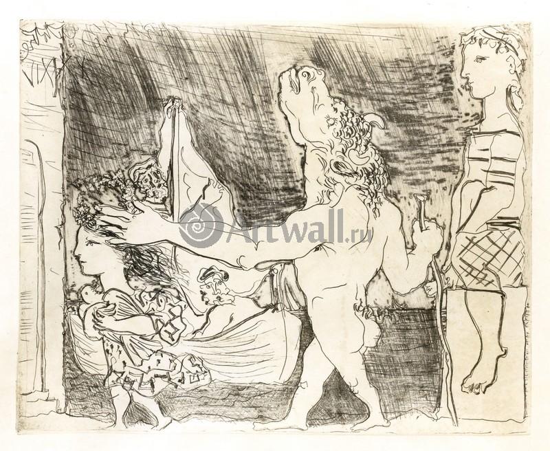 Пикассо Пабло, картина Слепой минотавр, которым управляет маленькая девочка IIПикассо Пабло<br>Репродукция на холсте или бумаге. Любого нужного вам размера. В раме или без. Подвес в комплекте. Трехслойная надежная упаковка. Доставим в любую точку России. Вам осталось только повесить картину на стену!<br>