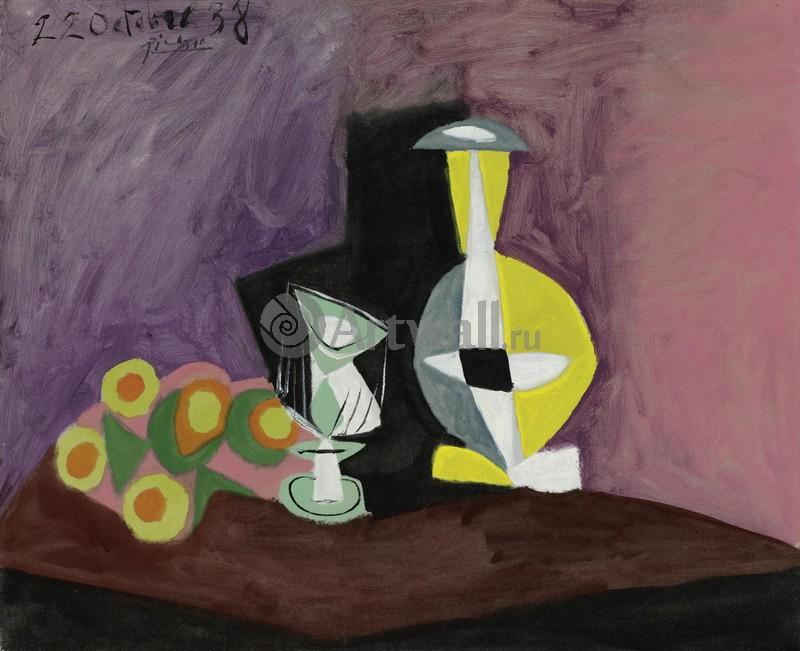 Пикассо Пабло, картина Фрукты, ваза и кувшинПикассо Пабло<br>Репродукция на холсте или бумаге. Любого нужного вам размера. В раме или без. Подвес в комплекте. Трехслойная надежная упаковка. Доставим в любую точку России. Вам осталось только повесить картину на стену!<br>