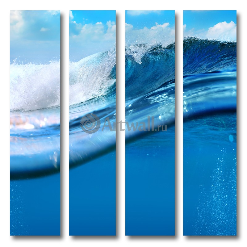 Модульная картина «Волна»Море<br>Модульная картина на натуральном холсте и деревянном подрамнике. Подвес в комплекте. Трехслойная надежная упаковка. Доставим в любую точку России. Вам осталось только повесить картину на стену!<br>