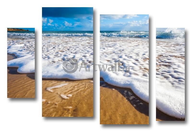 Модульная картина «Пенный прилив»Море<br>Модульная картина на натуральном холсте и деревянном подрамнике. Подвес в комплекте. Трехслойная надежная упаковка. Доставим в любую точку России. Вам осталось только повесить картину на стену!<br>