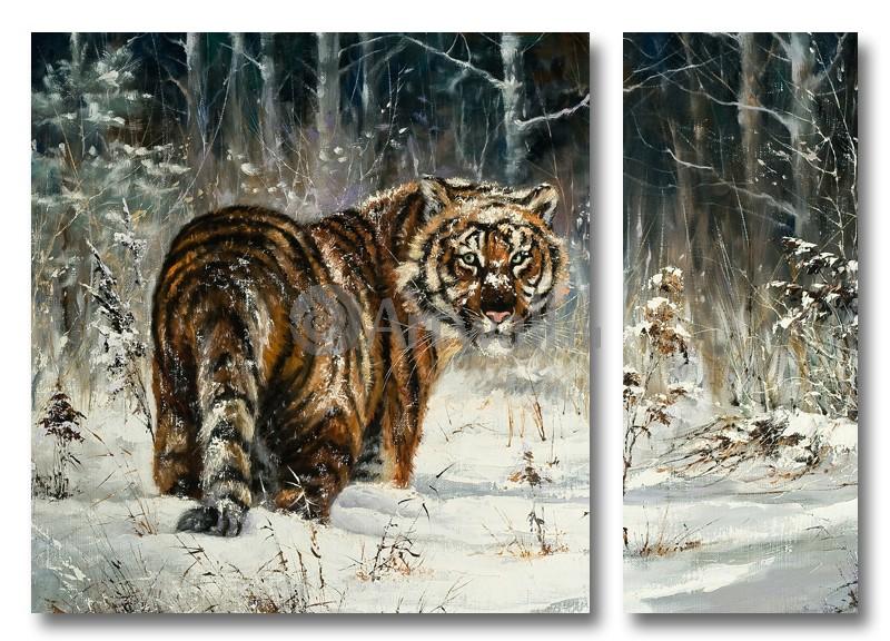 Модульная картина «Тигр на снегу»Животные и птицы<br>Модульная картина на натуральном холсте и деревянном подрамнике. Подвес в комплекте. Трехслойная надежная упаковка. Доставим в любую точку России. Вам осталось только повесить картину на стену!<br>