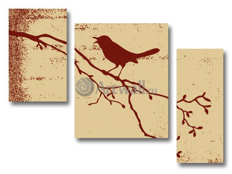 Модульная картина «Силуэт птицы на ветке», 67x50 см, модульная картинаЖивотные и птицы<br>Модульная картина на натуральном холсте и деревянном подрамнике. Подвес в комплекте. Трехслойная надежная упаковка. Доставим в любую точку России. Вам осталось только повесить картину на стену!<br>