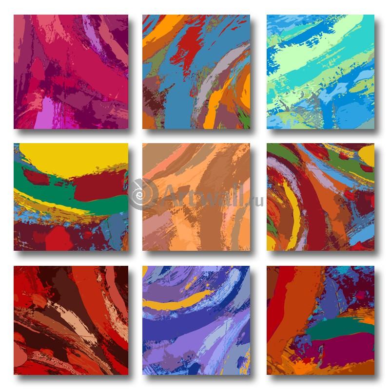 Модульная картина «Девять миров»Абстракция<br>Модульная картина на натуральном холсте и деревянном подрамнике. Подвес в комплекте. Трехслойная надежная упаковка. Доставим в любую точку России. Вам осталось только повесить картину на стену!<br>