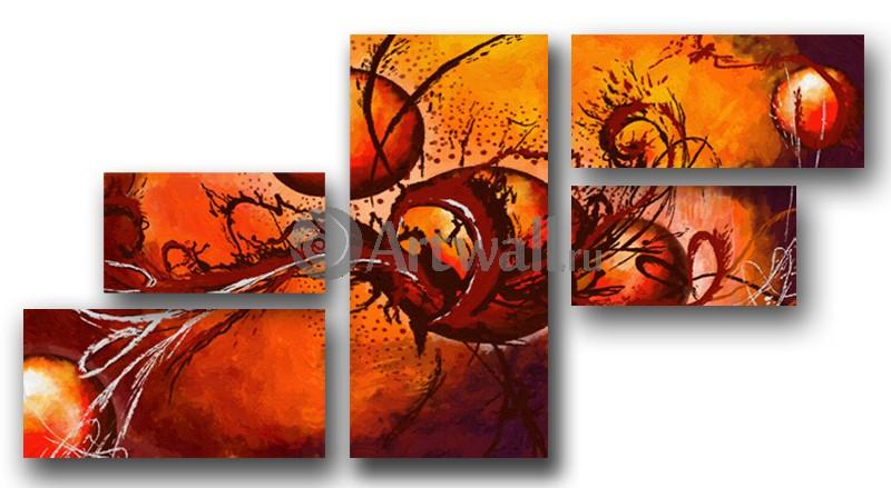 Модульная картина «Красные частицы»Абстракция<br>Модульная картина на натуральном холсте и деревянном подрамнике. Подвес в комплекте. Трехслойная надежная упаковка. Доставим в любую точку России. Вам осталось только повесить картину на стену!<br>