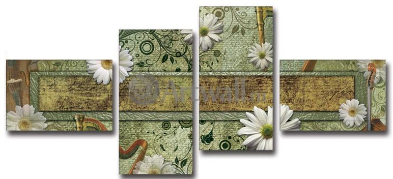 Модульная картина «Музыка ромашек»Цветы<br>Модульная картина на натуральном холсте и деревянном подрамнике. Подвес в комплекте. Трехслойная надежная упаковка. Доставим в любую точку России. Вам осталось только повесить картину на стену!<br>