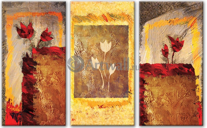 Модульная картина «Цветочный портрет»Цветы<br>Модульная картина на натуральном холсте и деревянном подрамнике. Подвес в комплекте. Трехслойная надежная упаковка. Доставим в любую точку России. Вам осталось только повесить картину на стену!<br>
