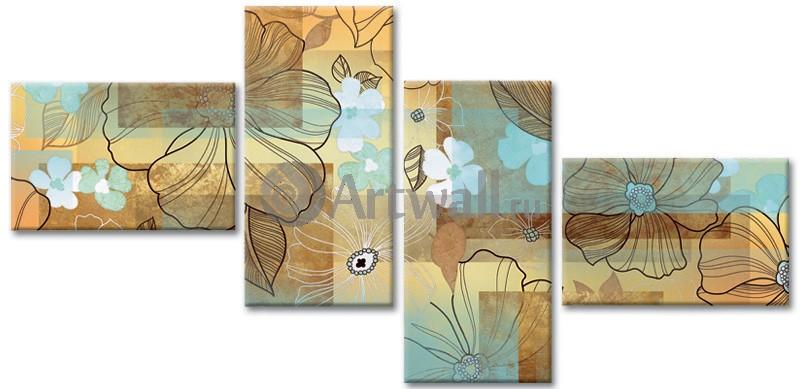 Модульная картина «Цветочная абстракция»Цветы<br>Модульная картина на натуральном холсте и деревянном подрамнике. Подвес в комплекте. Трехслойная надежная упаковка. Доставим в любую точку России. Вам осталось только повесить картину на стену!<br>