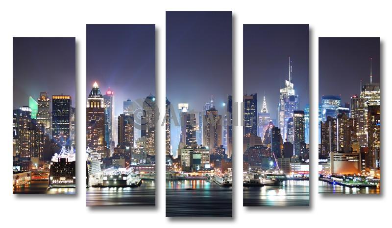 Модульная картина «Вечерний Нью-Йорк»Города<br>Модульная картина на натуральном холсте и деревянном подрамнике. Подвес в комплекте. Трехслойная надежная упаковка. Доставим в любую точку России. Вам осталось только повесить картину на стену!<br>
