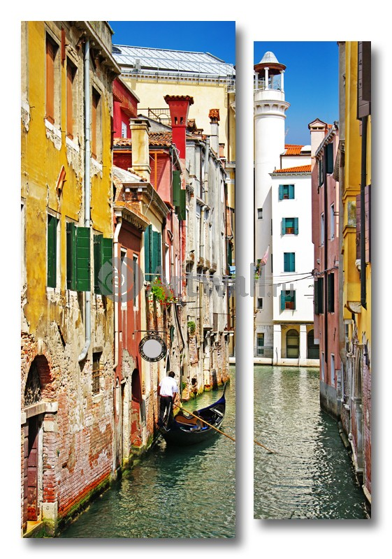 Модульная картина «Канал в старой Венеции»Города<br>Модульная картина на натуральном холсте и деревянном подрамнике. Подвес в комплекте. Трехслойная надежная упаковка. Доставим в любую точку России. Вам осталось только повесить картину на стену!<br>