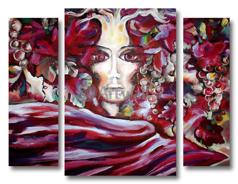 Модульная картина «Женщина и виноград», 65x50 см, модульная картинаЛюди<br>Модульная картина на натуральном холсте и деревянном подрамнике. Подвес в комплекте. Трехслойная надежная упаковка. Доставим в любую точку России. Вам осталось только повесить картину на стену!<br>