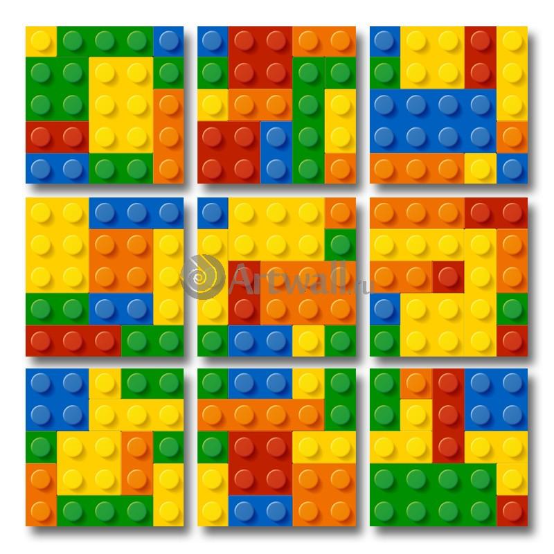 Модульная картина «Кубики Lego»Абстракция<br>Модульная картина на натуральном холсте и деревянном подрамнике. Подвес в комплекте. Трехслойная надежная упаковка. Доставим в любую точку России. Вам осталось только повесить картину на стену!<br>