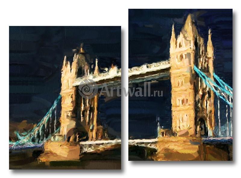 Модульная картина «Тауэрский мост вечером»Города<br>Модульная картина на натуральном холсте и деревянном подрамнике. Подвес в комплекте. Трехслойная надежная упаковка. Доставим в любую точку России. Вам осталось только повесить картину на стену!<br>