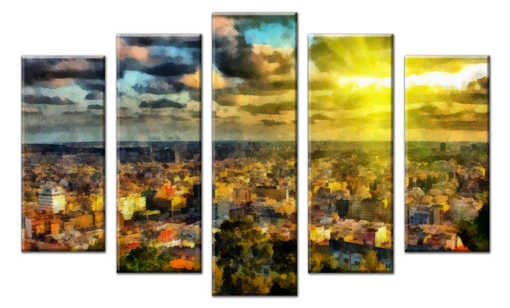 Модульная картина «Солнце над городом», 83x50 см, модульная картинаГорода<br>Модульная картина на натуральном холсте и деревянном подрамнике. Подвес в комплекте. Трехслойная надежная упаковка. Доставим в любую точку России. Вам осталось только повесить картину на стену!<br>