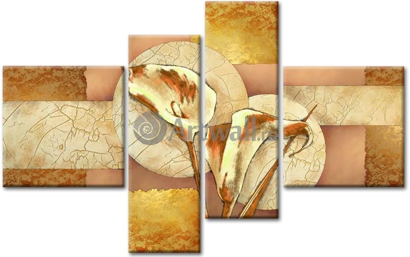 Модульная картина «Золотые каллы», 80x50 см, модульная картинаЦветы<br>Модульная картина на натуральном холсте и деревянном подрамнике. Подвес в комплекте. Трехслойная надежная упаковка. Доставим в любую точку России. Вам осталось только повесить картину на стену!<br>