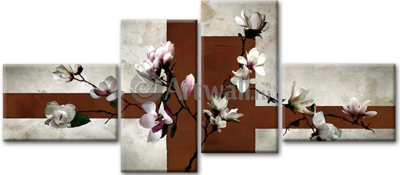 Модульная картина «Сакура и гранит»Цветы<br>Модульная картина на натуральном холсте и деревянном подрамнике. Подвес в комплекте. Трехслойная надежная упаковка. Доставим в любую точку России. Вам осталось только повесить картину на стену!<br>