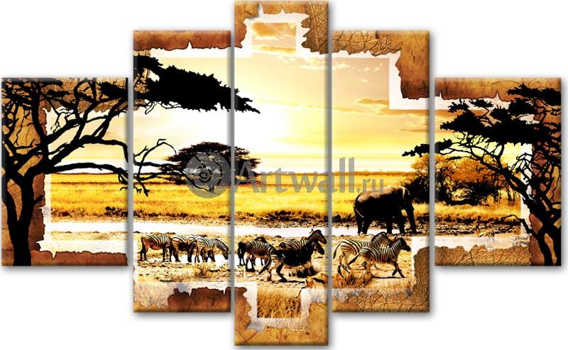 Модульная картина «Спокойная саванна»Африканские мотивы<br>Модульная картина на натуральном холсте и деревянном подрамнике. Подвес в комплекте. Трехслойная надежная упаковка. Доставим в любую точку России. Вам осталось только повесить картину на стену!<br>