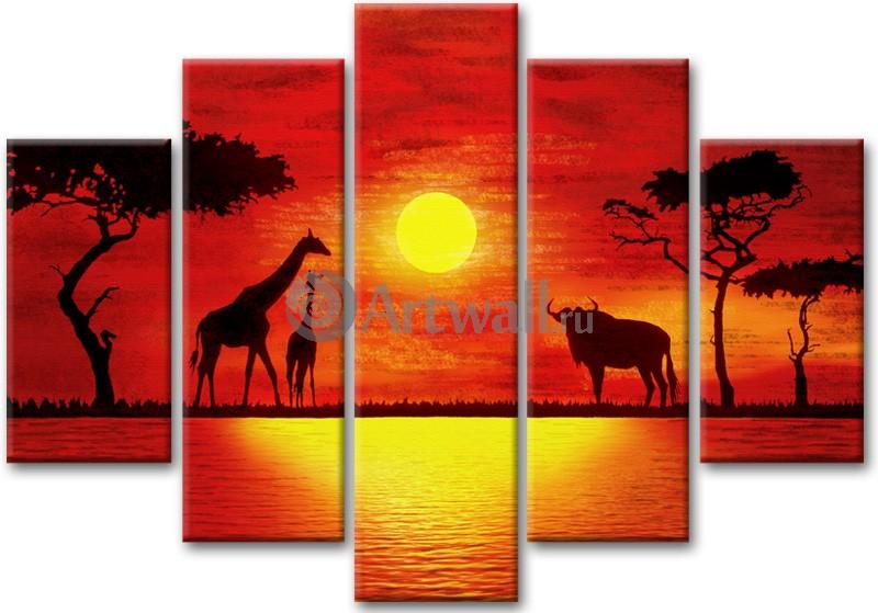 Модульная картина «Два жирафа и буйвол»Африканские мотивы<br>Модульная картина на натуральном холсте и деревянном подрамнике. Подвес в комплекте. Трехслойная надежная упаковка. Доставим в любую точку России. Вам осталось только повесить картину на стену!<br>