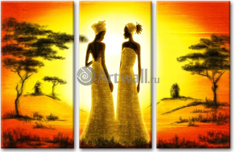 Модульная картина «Беседующие женщины»Африканские мотивы<br>Модульная картина на натуральном холсте и деревянном подрамнике. Подвес в комплекте. Трехслойная надежная упаковка. Доставим в любую точку России. Вам осталось только повесить картину на стену!<br>