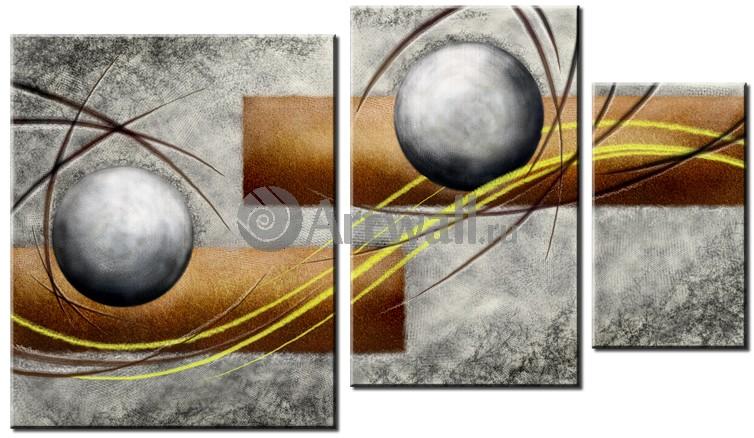 Модульная картина «Асфальтовые шары»Абстракция<br>Модульная картина на натуральном холсте и деревянном подрамнике. Подвес в комплекте. Трехслойная надежная упаковка. Доставим в любую точку России. Вам осталось только повесить картину на стену!<br>