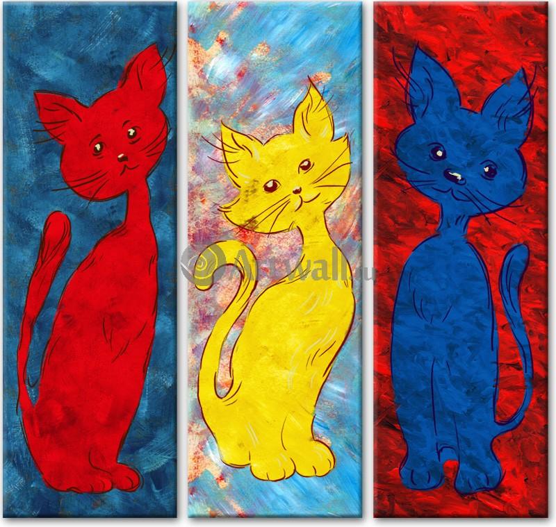 Модульная картина «Три кошки»Животные и птицы<br>Модульная картина на натуральном холсте и деревянном подрамнике. Подвес в комплекте. Трехслойная надежная упаковка. Доставим в любую точку России. Вам осталось только повесить картину на стену!<br>
