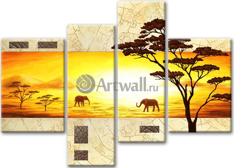 Модульная картина «Два слона на закате»Африканские мотивы<br>Модульная картина на натуральном холсте и деревянном подрамнике. Подвес в комплекте. Трехслойная надежная упаковка. Доставим в любую точку России. Вам осталось только повесить картину на стену!<br>