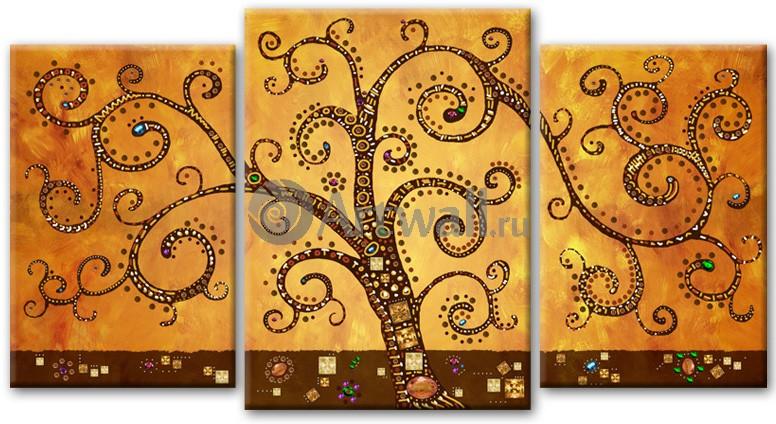 Модульная картина «Дерево. По мотивам Климта», 92x50 см, модульная картинаАбстракция<br>Модульная картина на натуральном холсте и деревянном подрамнике. Подвес в комплекте. Трехслойная надежная упаковка. Доставим в любую точку России. Вам осталось только повесить картину на стену!<br>