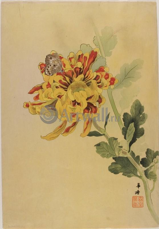 Японская гравюра Растения, птицы и животные, Гравюра 36280Растения, птицы и животные<br>Репродукция на холсте или бумаге. Любого нужного вам размера. В раме или без. Подвес в комплекте. Трехслойная надежная упаковка. Доставим в любую точку России. Вам осталось только повесить картину на стену!<br>
